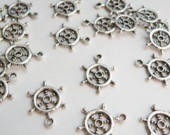 10 Ship Steering Wheel charms antique silver sailboat nautical 20x15mm DB00476