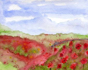 Poppy field watercolour painting