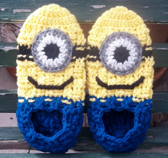 Women's Crocheted Dispicable Me Inspired Minion Slippers. Specify Size When Ordering.