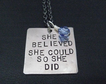 SHE BELIEVED She Could So She Did Necklace with Crystal - Choose Crystal - Race Month or Birthstone Crystal - Survivor Necklace - Graduation