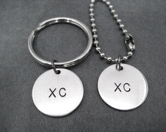 XC Cross Country Round Pendant Key Chain / Bag Tag - Choose 4 inch Ball Chain or Round Key Ring - Cross Country Key Chain - XC Key Chain
