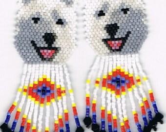 Hand Beaded  Laughing White wolf, Husky, Alaskan malamute dog earrings with diamond in fringe