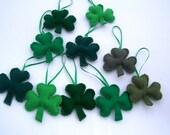 SHAMROCK Ornaments 10 pc St Patricks day Handmade Set of 10  Bowl fillers  Irish w storage bag