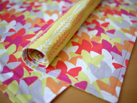 Reversible Placemats - Sol-La-Ti Print in Warm Brights - Set of 4