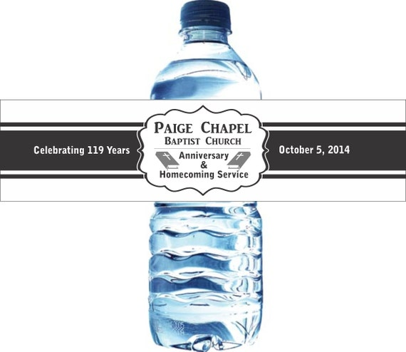 125 custom water bottle labels church anniversary With church water bottle labels
