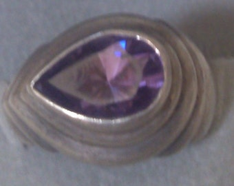Sterling and Amethyst Deco Ring