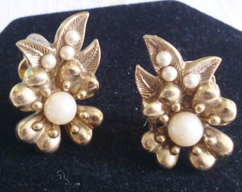 REDUCED  Flower and Leaves Pearl and Gold Clip Earrings