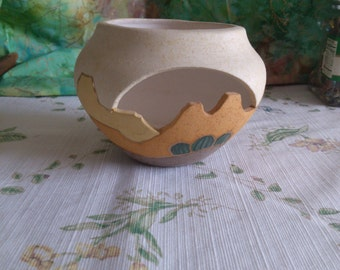 Mystical Mud Open Sided Pot with Southwest Motif, Hand Painted and Signed on the Bottom