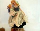 Fairy Folk art cloth doll mother daughter soft sculpture wire armature elf princess