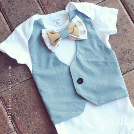 Holiday Baby Boy Light Blue Vest and Pink and by pdstudiosstore