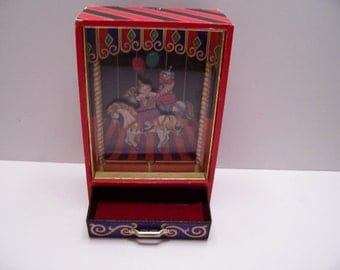 Vintage Animated Music Box with Clowns riding horse merry go round