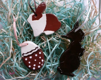 Easter Handmade Ceramic Ornaments - chocolate bunnies and egg