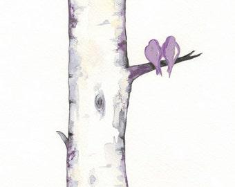 Lavendar Birch Tree Love No. 3 / Love Birds / Romance / watercolor print / Coral /grey / black and white and yellow / Archival