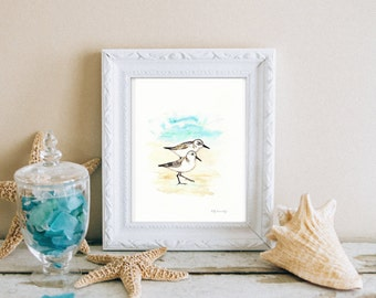 Sand Piper Serenade / Blue, Green,Grey, Teal, Aqua Ocean / Beach Watercolor Print