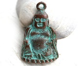 Buddha metal pendant, Green patina on copper, buddha figure, charm, Lead Free, large - F188
