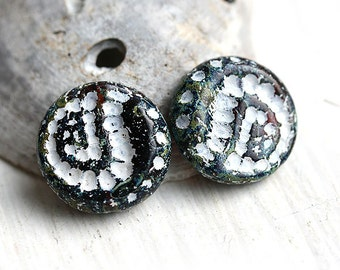Rustic ornament beads, czech glass beads, black and white, picasso finish - large, round - 18mm - 2Pc - 0587