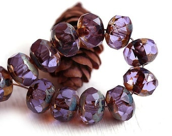 Czech glass beads - Lavender, Brown Picasso - spacer beads, donut, rondelle, gemstone cut - 6x9mm - 12Pc - 0111