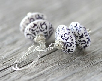 Blue and White Earrings: Navy Floral Etched Vintage Lucite Beads and Sterling Silver, Whimsical Jewelry