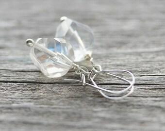 Crystal Clear Earrings: Glass Czech Drop Earrings in Sterling Silver, Simple Earrings