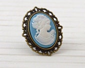 Blue Cameo  Ring .. lady cameo ring, blue ring, adjustable ring, Victorian jewelry, Victorian portrait