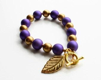 CLEARANCE Purple Bead Bracelet, Gold Beaded Bracelet, Leaf Charm Bracelet, Chunky Bead Bracelet, Acrylic Bead Bracelet, Purple Bracelet