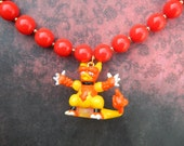Awesome Magmar Pokemon Necklace Made with an Upcycled Red and Gold Beaded Necklace