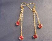 RESERVED FOR RIKA Silver Chain, Swarovski Crystal, Long Dangle Earrings