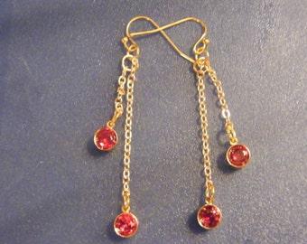 Garnet Earrings! Red Garnet, Gold Chain, Long Earrings! OOAK! January Birthstone, Birthday Gift, Anniversary Gift, Holiday Gift
