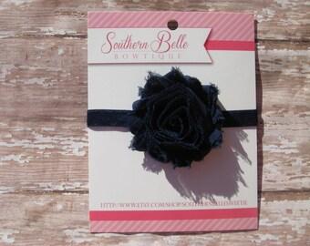 Baby headband, infant headband, newborn headband - NAVY BLUE shabby flower headband