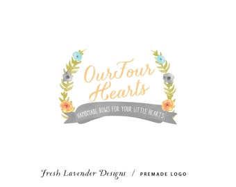 Custom Logo Designs Personalized Premade Logo and Watermark for Photographers and Small Businesses Watercolor Laurel with Flowers Vintage