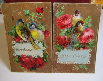 Two gorgeous 1910's germany embossed gold gilded or foiled birthday postcards pretty multicolored birds and red and pink roses