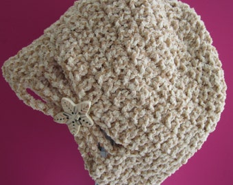 Crochet flapper style hat for baby girl 6 to 9 mos