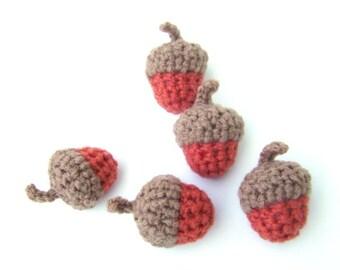 Crochet Acorn Fall Decoration Thanksgiving Halloween Bowl Filler Burnt Orange with Warm Brown Cap Set of 5