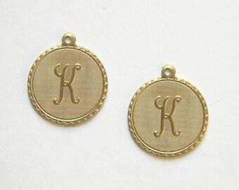 Raw Brass Letter K Charm Monogram Initial Drop 20m x 22mm - 4 pcs. (r266)