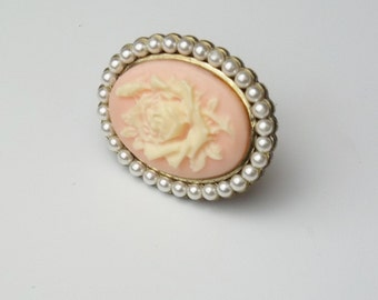 Vintage 1950's Statement Ring Flower Cameo Seed Pearl Large Oval Mid Century Cottage Chic Costume Jewelry Gift For Her on Etsy