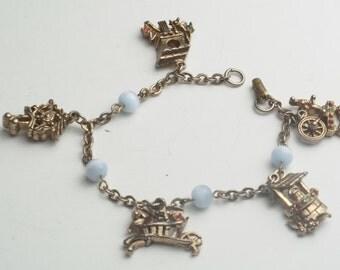 Vintage Bracelet Baby Blue Glass Moonstone Rhinestone Costume Jewelry Charm Bracelet Young Girl Tween