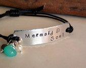 Mermaid Soul ~ Hand Stamped Silver ID Bracelet Leather Bracelet Blue Chalcedony, Pearl and Labradorite Charm