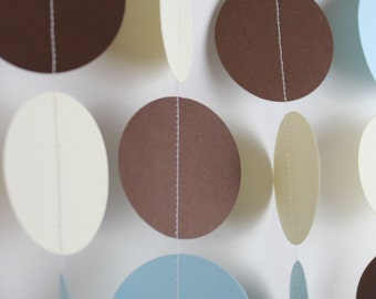 Baby Boy Shower Decoration- Light blue, Ivory and Brown Paper Garland