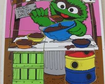 Vintage Oscar the Grouch Playskool Wooden Puzzle