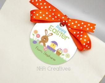 Personalized Happy Easter Favor Tag - Easter Brunch - DIY Printable Digital File