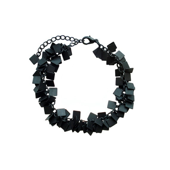 Charm Chain Bracelet - Black Square
