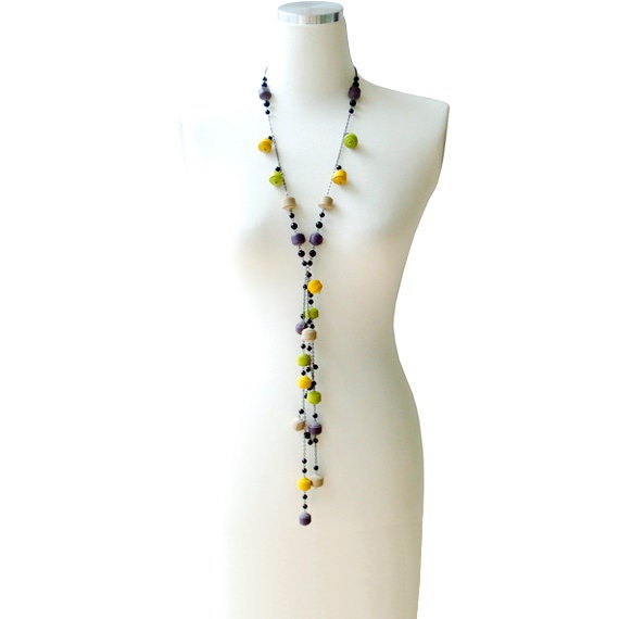 Multicolor Genuine Leather Ball Long Necklace