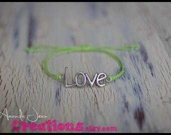 LOVE Charm Bracelet - Lime Green - Slip Knot