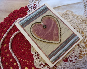 Brass Bead Valentine Card