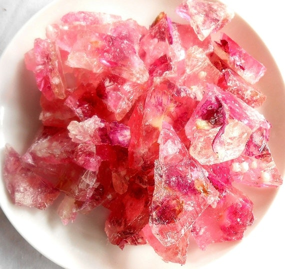 Organic Fresh Rose Flower Petals in Pink Champagne Hard Rock Sugar Candy Favors Cup Cake Toppers