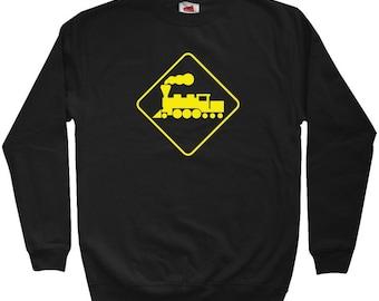 Locomotive Railroad Crossing Sweatshirt - Men S M L XL 2x 3x - Crewneck Railroad Shirt - 4 Colors