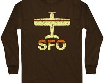 LS Fly SFO T-shirt - San Francisco Airport Long Sleeve Tee - Men and Kids - S M L XL 2x 3x 4x - 3 Colors