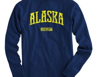 LS Alaska Represent Tee - Long Sleeve T-shirt - Men and Kids - S M L XL 2x 3x 4x - Alaska T-shirt - 4 Colors