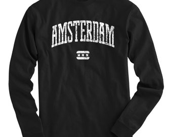 LS Amsterdam T-shirt - Long Sleeve Tee - Men and Kids - S M L XL 2x 3x 4x - Netherlands Holland - 4 Colors
