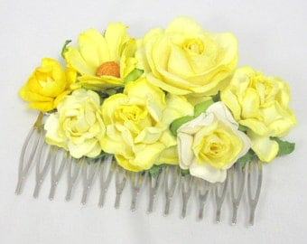 Yellow Floral Haircomb Flower Fascinator Vintage Wedding Party Bridal Accessory Bridesmaid statement